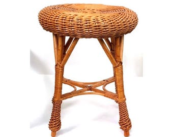 Vintage Natural Rattan Stool, Drinks Table, Plant Stand