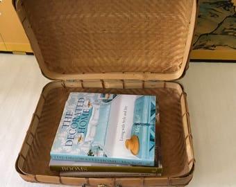 Vintage Woven Natural Rattan Suitcase/Handbag/Storage Basket