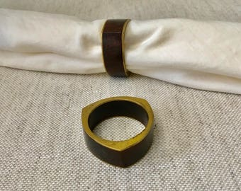 Brass and Rosewood Napkin Rings, Set of 8