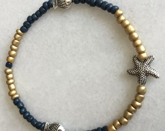 Dainty Stretch Ankle bracelets - Seed beads - Matte Gold and Blue - Nautical - Beachy
