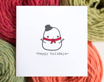 happy holidays card - little snowman
