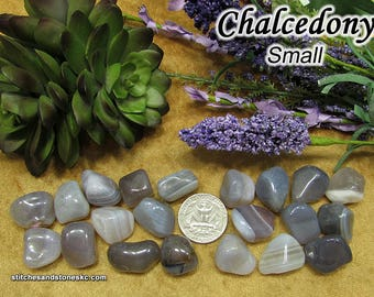Blue Chalcedony tumbled stone crystals — multiple sizes available