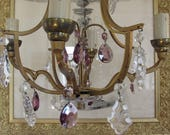 Vintage French stunning chandelier with purple glass drops.