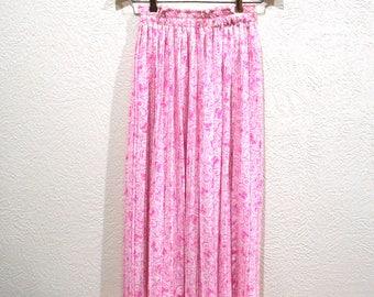 Vintage Diane Freis skirt flowing pink and white 1980's designer flutter skirt: small