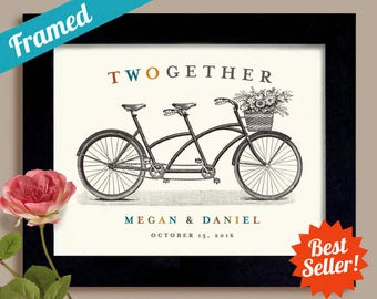Personalized Wedding Gift Housewarming Gift Engagement Gift Framed Art Print Tandem Bike Adventure Awaits Newlywed Gift Better Together