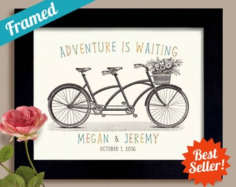 Personalized Wedding Gifts for Couple  Adventure Awaits Newly Engaged Gift Newlywed First Anniversary Gift Tandem Bike Couples Gift