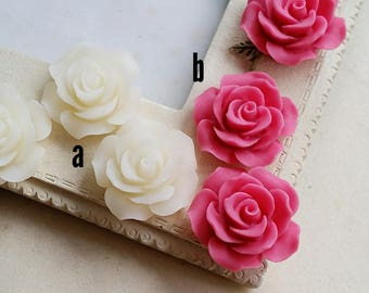 19 mm of White /  Hot pink Colour Rose Resin Flower Cabochons (.tu)(zzb)