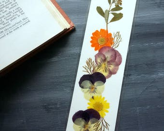 BOTANICAL BOOKMARK - Pressed Flower Collage Art, Book Lover Reading Gift, Friend, Student, Mom, Teen Girl Gift, Pansy and Daisy Bookmark