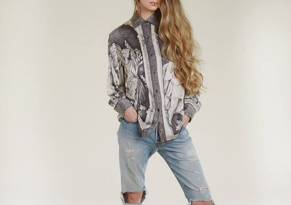 90s silk graphic blouse