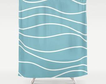 Premium Smooth FABRIC SHOWER CURTAIN Aqua Turquoise Blue Wavy White Lines Stripes Neutral Minimalist Contemporary . Machine Wash Tumble Dry