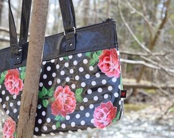 Handmade Polkadot & Roses Purse