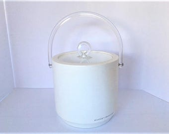Mid Century Modern, vintage, vinyl ice bucket with lucite handle and lid