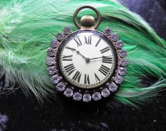 Large Retro Rhinestone Pocket Watch.  Very OldHollywood.