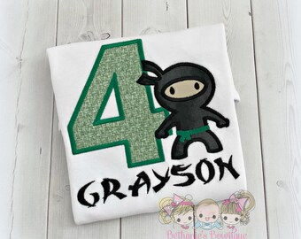 Ninja birthday shirt - ninja themed shirt for boys - green and black ninja shirt - karate birthday shirt - martial arts birthday shirt