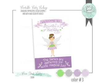 pixie fairy SIGN. Birthday Party Printable PDF Welcome Door Sign. Multiple color options and hair color of choice
