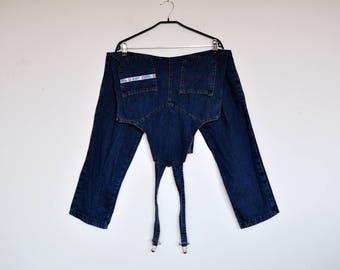 Vintage Dark Denim Overalls Bib Jeans