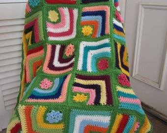 ON SALE - 10% OFF Granny Square Crochet Baby Blanket