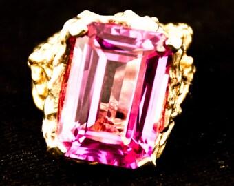 Vintage Pink Topaz 14K Gold Ring size 6.5