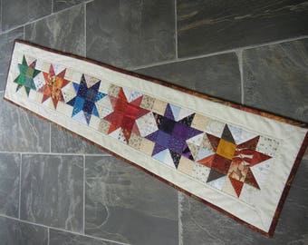 Quilted Country Star Table Runner Handmade Fall ready to ship