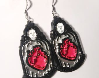 SILVER Caged Heart 3d Printed Earrings