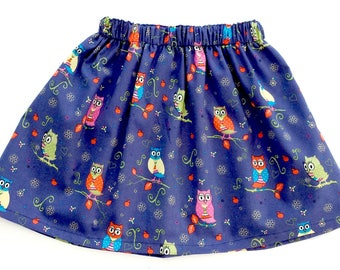 Owl Skirt, Girls Skirt, Girls Owl Outfit, Owls, Owl Outfit, Owl Clothing, Girls Party Skirt, Girls Clothing, Owl Gift, Birthday outfit,