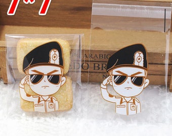 Soldier Cadet Small Plastic Bag Food packaging bags  resealable bag (100) Party Snack Cookie Bag