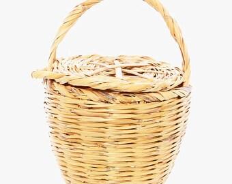 BIRKIN BASKET - Jane Birkin Basket - handmade basket with lid  - MEDIUM