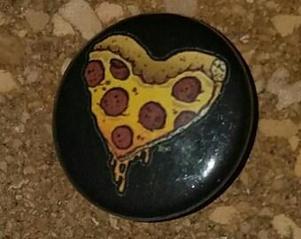 "Pizza Heart 1"" Pin, Pinback Button, Black"