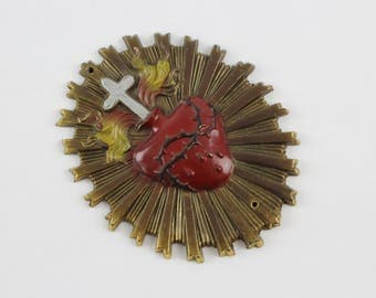 Vintage Brass Sacred Heart of Jesus Wall Plaque - Brass Enamel Ex Voto Religious Icon Wall Hanging