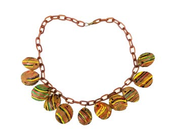 Vintage 1930s Stone Fruit Pit Charm Celluloid Chain Necklace, 11 Natural Charms w Yellow, Black, Red & Green Stripes, Depression Era Jewelry