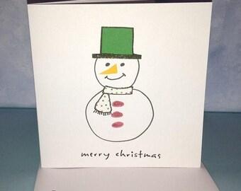 Snowman Merry Christmas Card Handmade Card OOAK