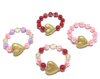 Toddler or Girls Small Beaded Heart Bracelet - Girls Gold Heart Bracelet - Pink and Purple Bracelet - Red and Pink Bracelet - Valentines day