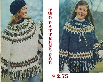 Icelandic Poncho Knitting Patterns - Women's and Childrens 1970's Vintage Digital Knitting Pattern Instant Download