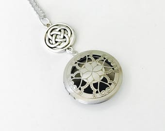 Essential Oil Locket, Celtic knot silver locket, stainless steel chain, long necklace