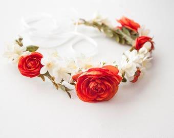 Orange Flower Crown / Bridal Flower Crown / Floral Crown / Gifts for her / Wedding Crown / Flower Headpiece / Boho Crown / Coachella