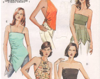 2004 - Vogue 7877 Sewing Pattern Sizes 14/16/18 Easy Tops Strapless Halter Close Fitting TwoWay Stretch Empire Waist Shaped Hem Asymmetrical