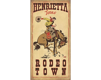 Henrietta Texas- Rodeo Poster, Western themed Travel Posters in various sizes, Kids room decor and design, Name Drop Posters