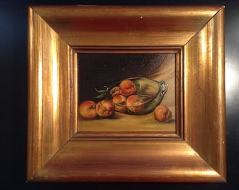 Vintage oil painting on board still life painting of fruit in gold frame