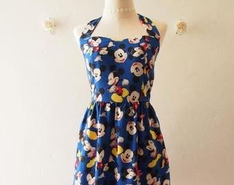 Mid Year SALE Sundress Halter Dress Mickey Mouse Dress Disney Dress Royal Blue Dress Vintage Retro Cute Summer Dress