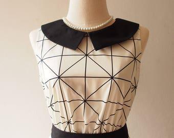 Summer Dress Geometry Line Vintage Modern Dress Collar Dress Mod Clothing Chic Retro Dress White Sundress Club Dress Cool Frock