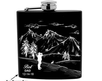 Personalized Flask Print 6ozBlack Stainless Steel laser engraved Hunter Montain Design 0023