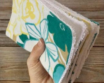 Unpaper Towels Cloth Flannel Baby Wipes flower blue green yellow Set of 4