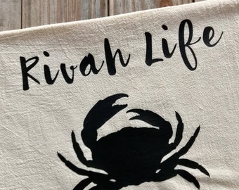 Tea Towel Flour Sack Rivah Life Crab Feed Sack Kitchen Towel