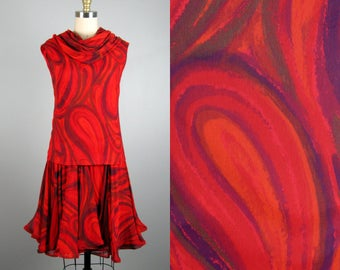 Vintage 1960s Red Chiffon Dress 60s Abstract Bold Paisley Printed Chiffon Cocktail Dress by Jane Andre Size S