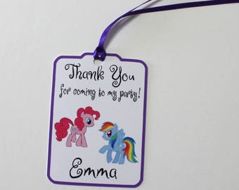 Set of 12 Thank You Party Favor Tags, My Little Pony Personalized Birthday Party Favors Tags Thank You Gift Tags, Party Supplies