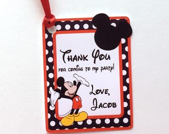 Mickey Thank You Party Favor Tags, Set of 12 Mickey Mouse Ears & Dots Personalized Happy Birthday Party Favors Thank You tags Party Supplies