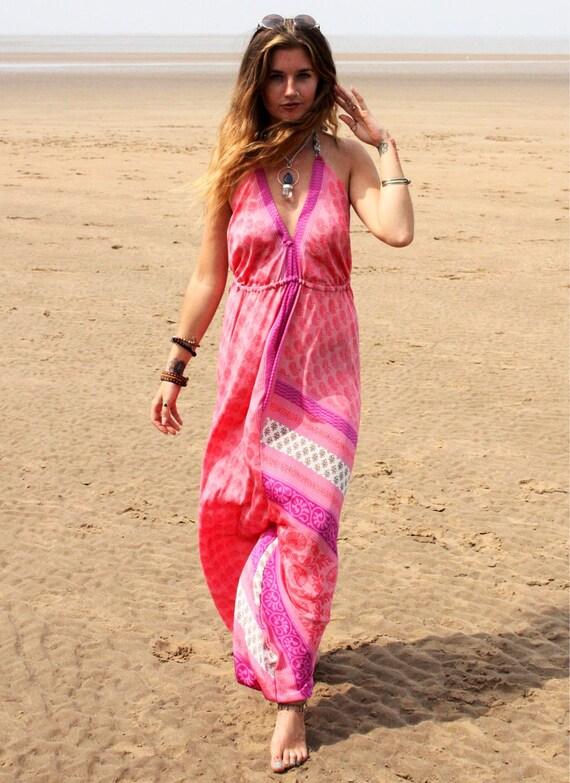 RUBY SPARROW JUMPSUIT - Limited Edition Jumpsuit- Handmade- Vintage Sari Jumpsuit- Festival- Hippie- Retro- Halterneck- 100% Silk- Couture