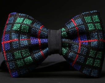 Bright Wedding Bow Tie For Men , Cross Stitched checked Bow Tie
