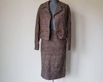 Vintage 1960's Brown Tweed Skirt Suit with Sackback Jacket