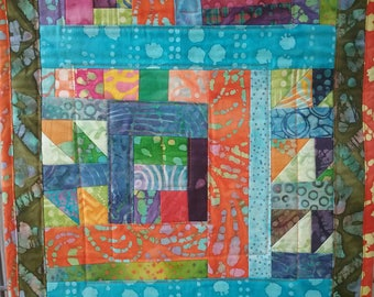 table runner or wall hanging quilt ready to ship one of a kind OOAK abstract original pattern recycled scrap batik cotton fabric unique gift